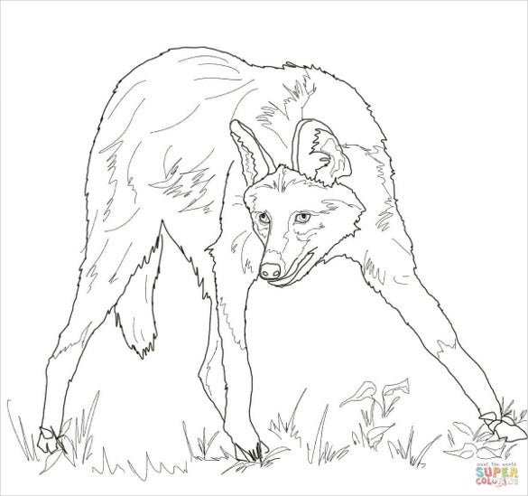 maned wolf drawing template