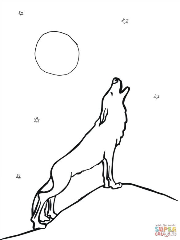 wolfs drawing template with moon