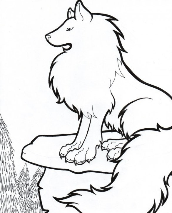 easy to color wolfs drawing template