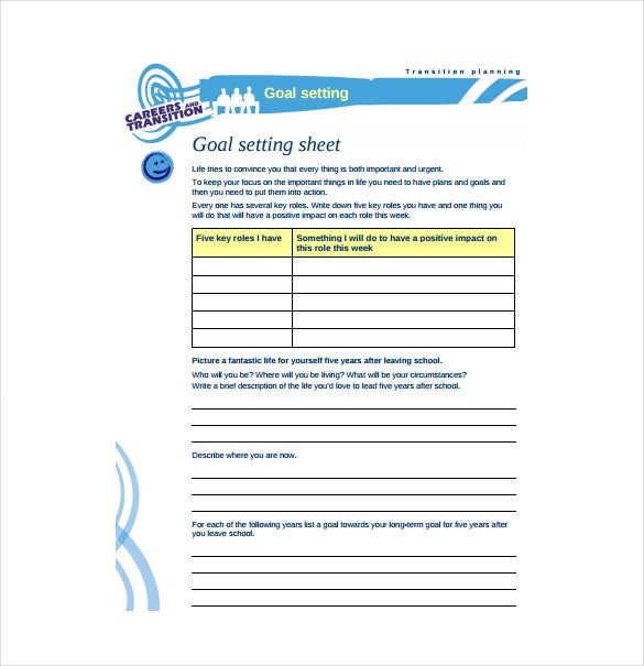 Goal sheet templates 12 free pdf documents download free goal setting sheet free pdf template download wajeb Image collections