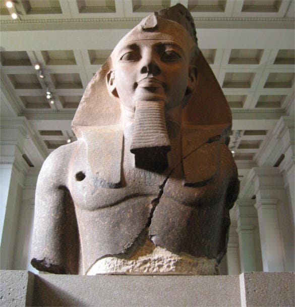 aes egyptian sulpture colossal bust of ramesses ii