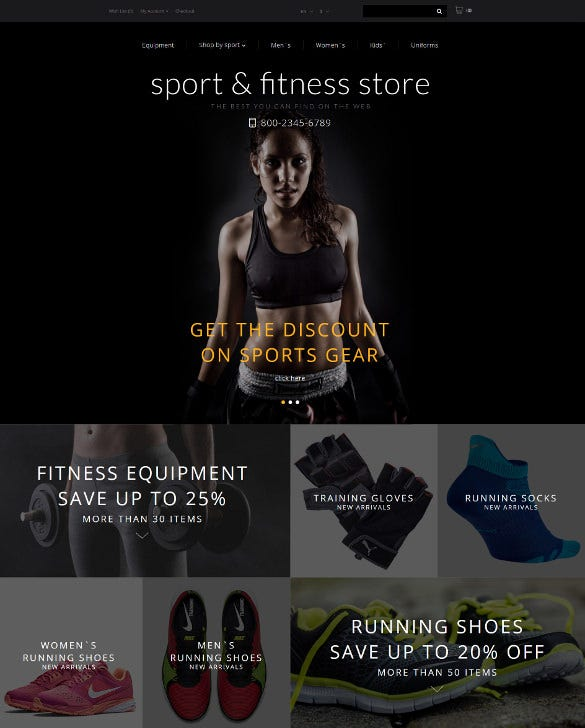 fitness training opencart website template