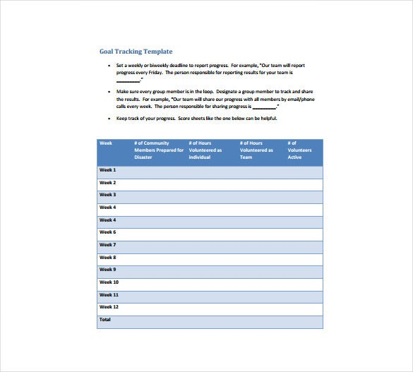 Goal Sheet Template   Free Pdf Documents Download  Free