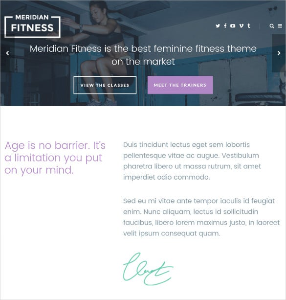 simple fitness gym wordpress website theme