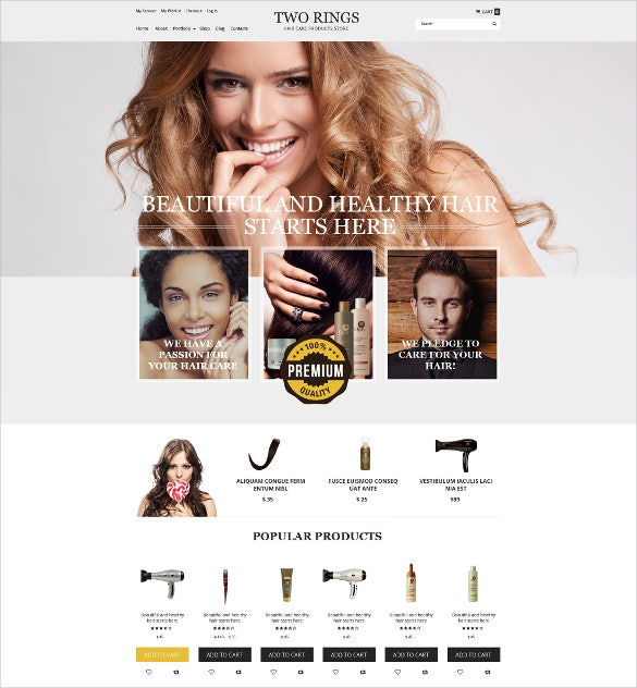 two rings hair salon woocommerce website theme