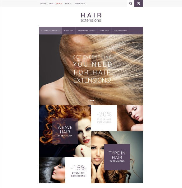 godaddy ecommerce templates - hair extension website template 26 hair salon website