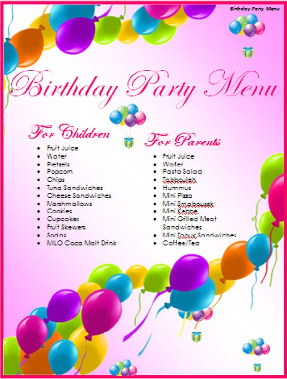 birthday party delicious menu template