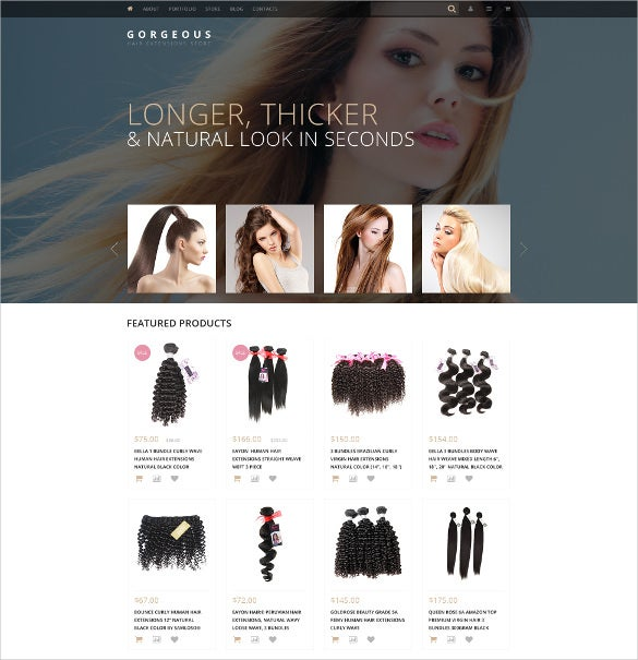 hair extensions woocommerce website theme