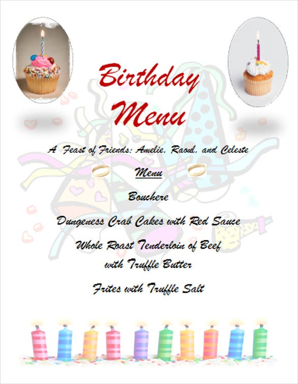 birthday party cake menu template