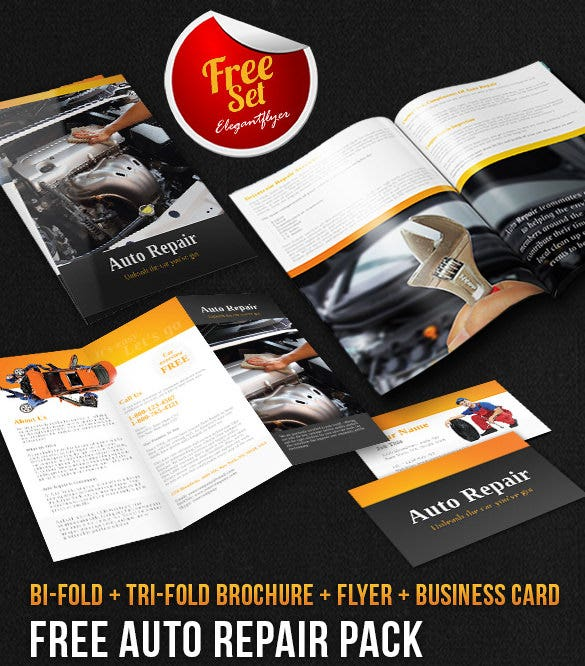 auto repair brochure pack – free psd template download