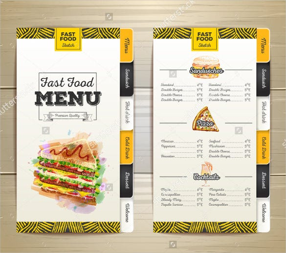 birthday drawing fast food menu template