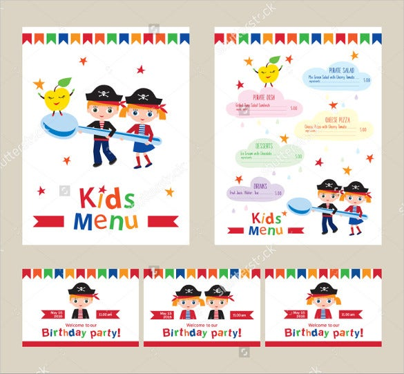 kids birthday menu vector template