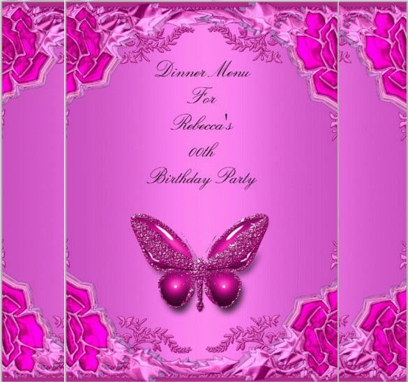 birthday menu dinner card pink butterfly template