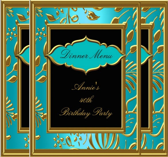 birthday dinner menu card template