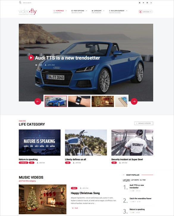 video sharing portal website theme
