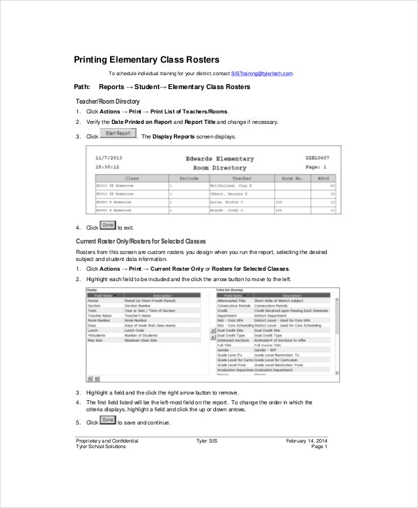 Class Roster Template   Free Word Pdf Documents Download