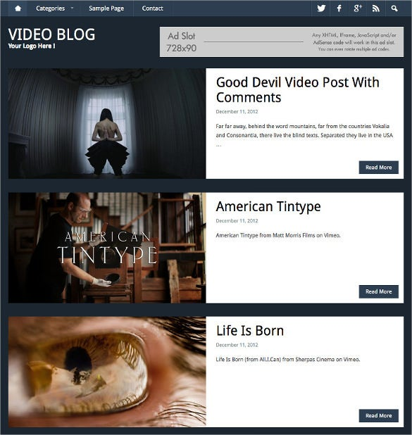 video blog website theme