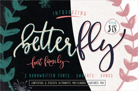 betterfly modern fonts swashes template
