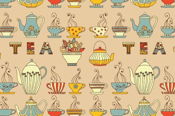 tea cups and sweet patterns tea party invitation
