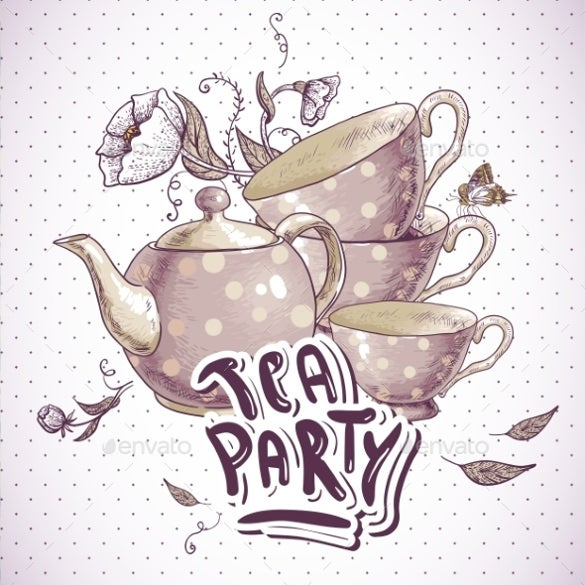 Tea Party Invitation Card with Tea Cups and Pot