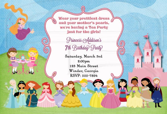 Tea Party Invitation Template Free PSD EPS Indesign Format - Party invitation template: princess party invitation template