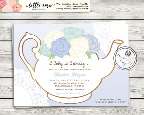 High tea party baby shower invitations baby shower menu guide and floral teacup afternoon tea baby or bridal shower card tea party filmwisefo