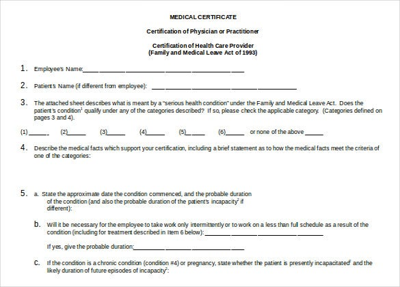Doctor Certificate Template 17 Free Word PDF Documents – Medical Certificate Form
