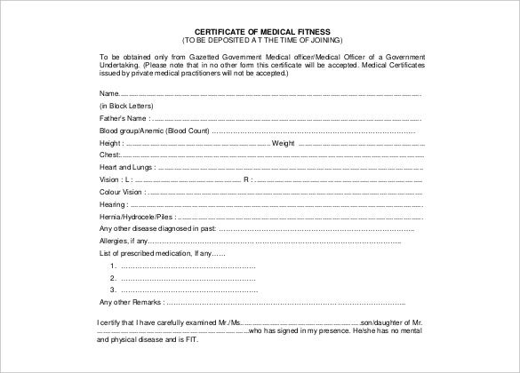PDF Format Certificate Of Medical Fitness Free Download  Medical Certificate Format