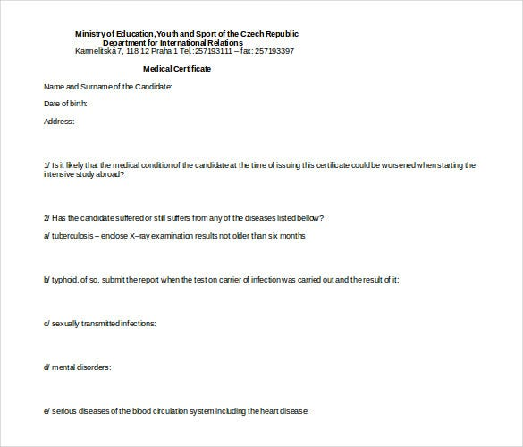free doctor medical certificate doc format template