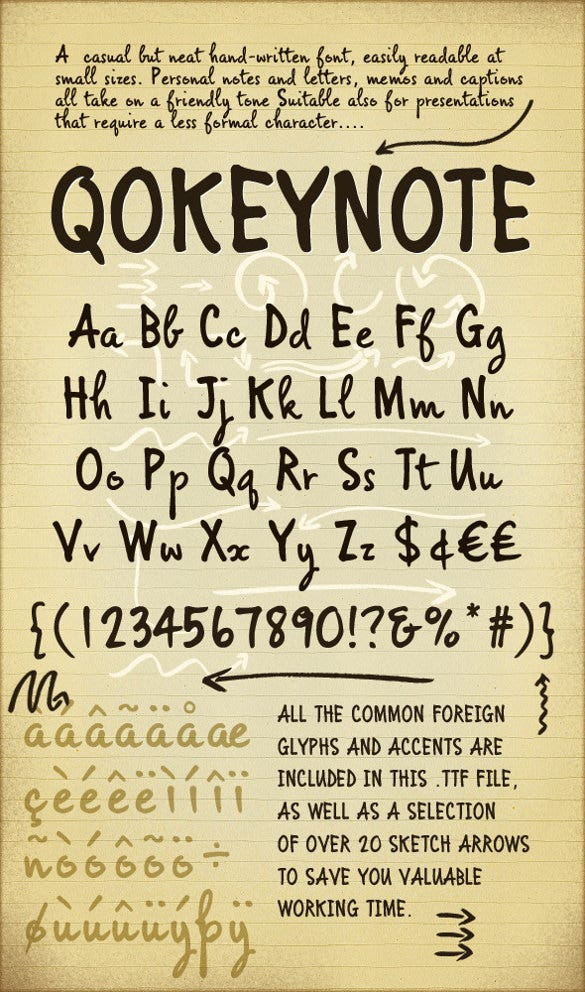 qokeynote handwritten casual lettering font template