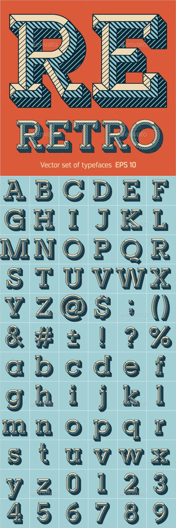 font set of engraved letters template download