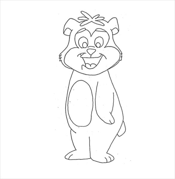 happy bear coloring page pdf free download