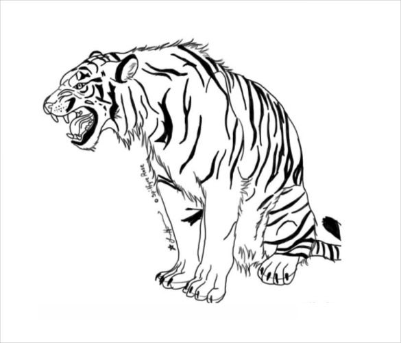Leopard Coloring Pages Pdf : Snarling tiger coloring pages pdf free download animal