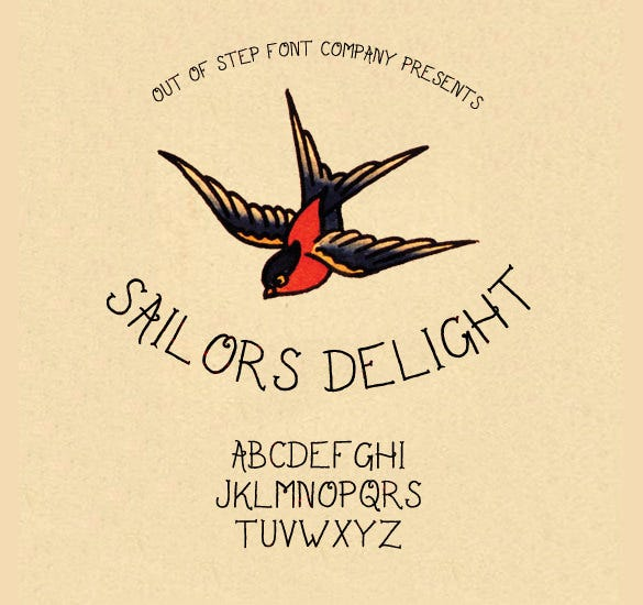 sailor delight tattoo font download