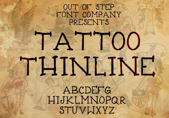 tattoo thinline font template download