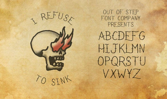 i refuse to sink tattoo font download