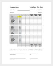 Employee Time Sheet Excel Format Free