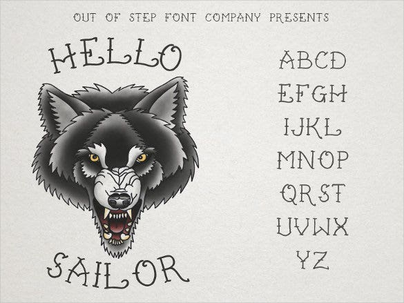 hello sailor tattoo font template