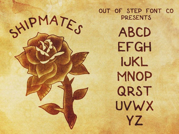 shipmates tatto font template download
