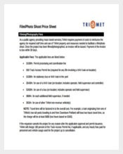 Film Photo Shoot Price Sheet PDF Template Free