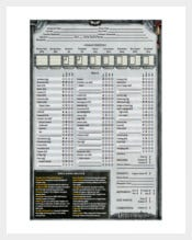 Deathwatch Character sheet PDF Template Free