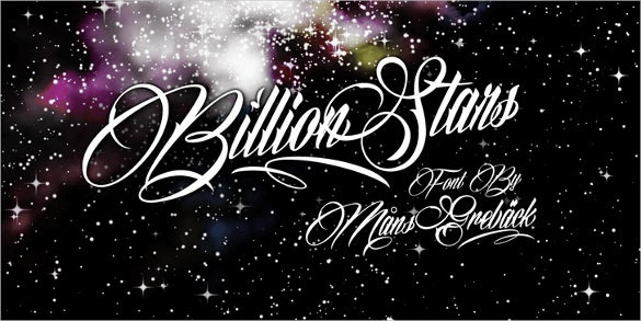 billion stars personal use writing font download