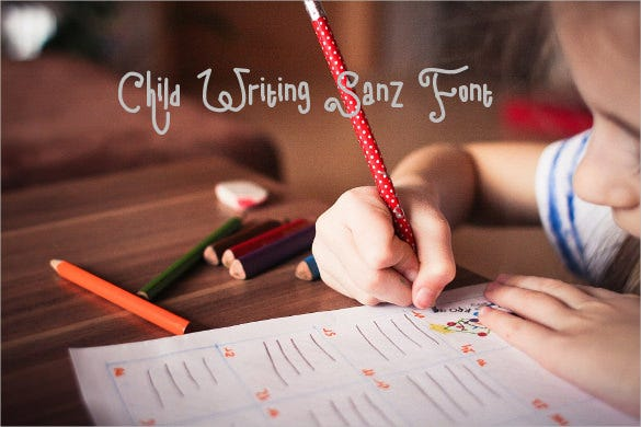 child writing sanz font download