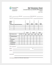 Bid Tabulation Sheet Word Template Free