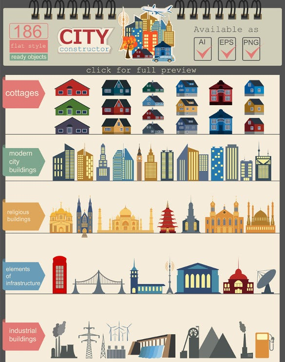 construction your perfect city map infographic element