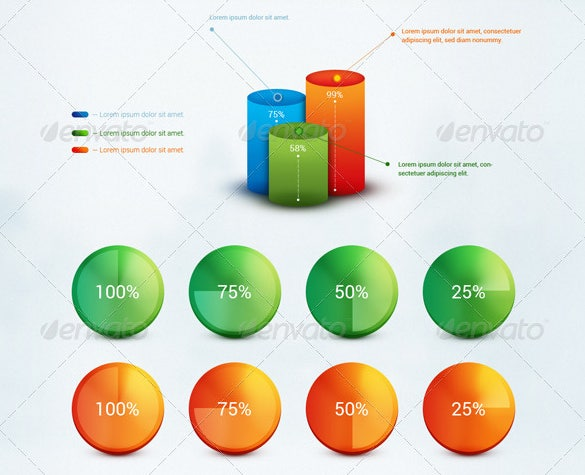 infographic and web element in psd editable download