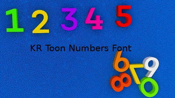kr toon numbers font template download