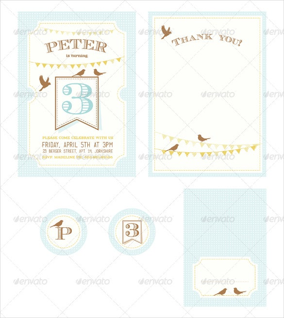 kids vintage birthday party invitation template