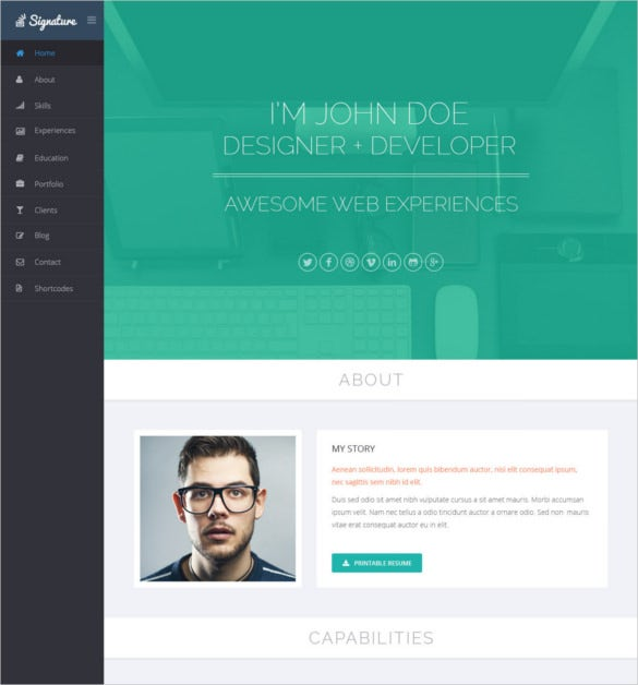 Best Html Vcard And Resume Templates For Your Personal Online