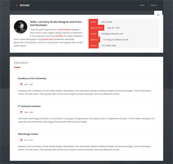 premiumlayers responsive html vcard resume template download